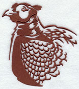 A pheasant silhouette machine embroidery design.