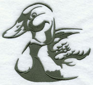 A mallard duck silhouette machine embroidery design.
