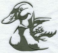 A mallard duck silhouette machine embroidery design.
