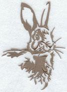 A rabbit silhouette machine embroidery design.