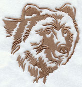 A grizzly bear silhouette machine embroidery design.