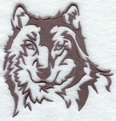 A wolf silhouette machine embroidery design.