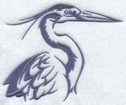 A crane silhouette machine embroidery design.