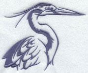 A crane silhouette machine embroidery design.