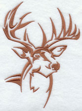 A deer silhouette machine embroidery design.