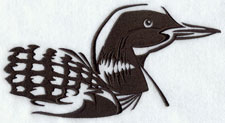 A loon silhouette machine embroidery design.