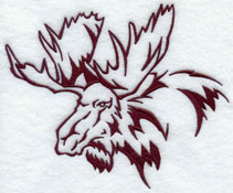 A moose silhouette machine embroidery design.