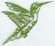 A hummingbird silhouette machine embroidery design.