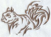 A squirrel silhouette machine embroidery design.