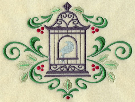 A Christmas birdcage with filigree and holly machine embroidery design.