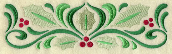 A filigree and holly Christmas border machine embroidery design.