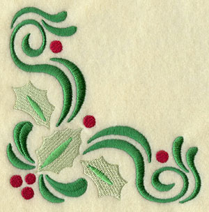 A filigree and holly Christmas corner machine embroidery design.