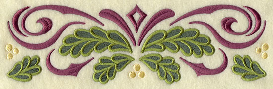 A filigree and pine boughs Christmas border machine embroidery design.