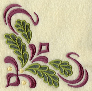 A filigree and poinsettia Christmas corner machine embroidery design.