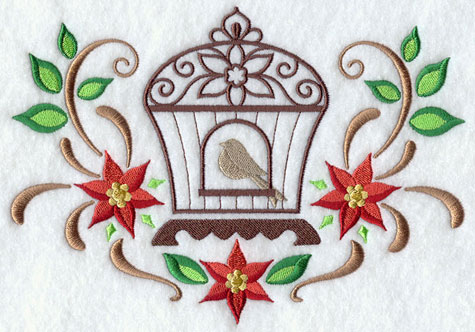 A Christmas birdcage with filigree and poinsettia machine embroidery design.