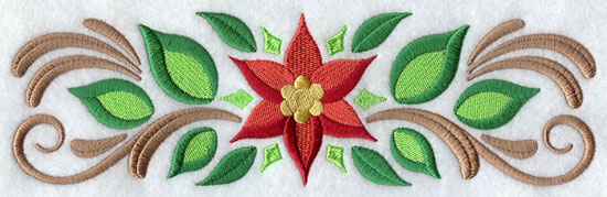 A filigree and poinsettia Christmas border machine embroidery design.