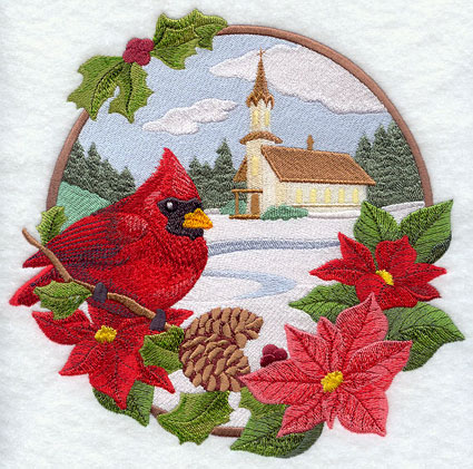 A country church Christmas scene with cardinal and poinsettias machine embroidery design.