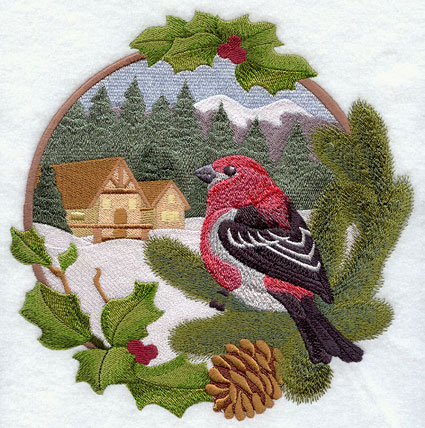 A country cabin Christmas scene with pine grosbeak and holly machine embroidery design.