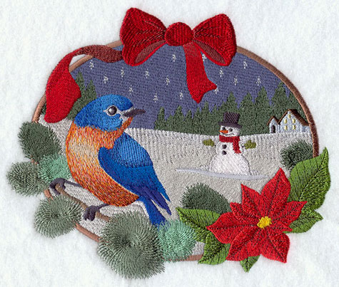 A country Christmas scene with bluebird and snowman machine embroidery design.