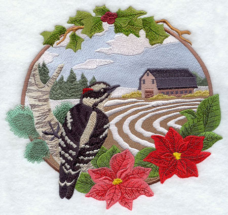 A country farm Christmas scene with woodpecker and barn machine embroidery design.