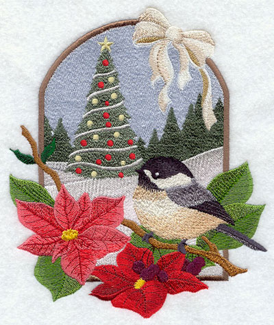 A country Christmas scene with chickadee and poinsettias machine embroidery design.