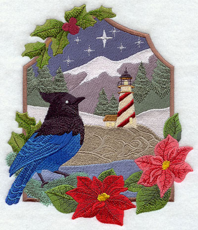 A Christmas lighthouse country scene with Steller's jay machine embroidery design.