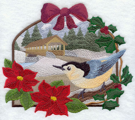 A country Christmas scene with nuthatch and covered bridge machine embroidery design.