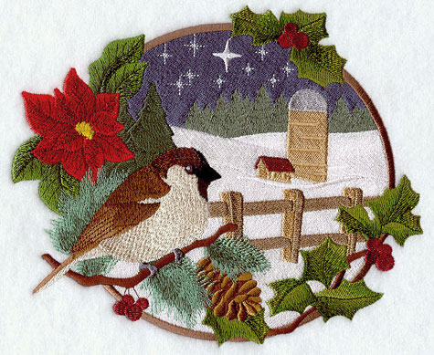 A country Christmas scene with sparrow and silo machine embroidery design.