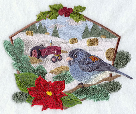 A country farm Christmas scene with junco and tractor machine embroidery design.