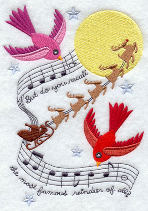 Christmas music and birds machine embroidery design.