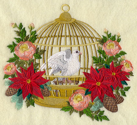 A Victorian Christmas birdcage with dove and flowers machine embroidery design.