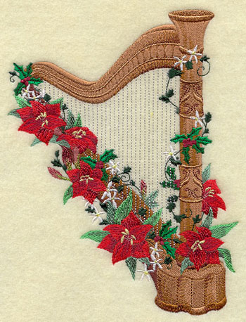 A Victorian Christmas harp with poinsettias machine embroidery design.
