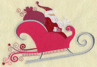 Santa Claus and his sleigh in metallic thread machine embroidery design.