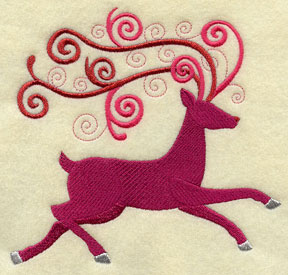 Rudolph the red-nosed reindeer in metallic thread machine embroidery design.