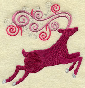 Santa's reindeer in metallic thread machine embroidery design.