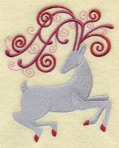 Santa's reindeer in metallic thread machine embroidery design.