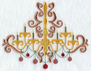 Victorian Christmas chandelier machine embroidery design.