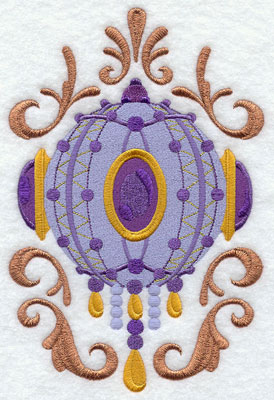 Victorian Christmas metallic thread ornament machine embroidery design.