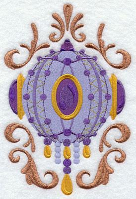 Victorian Christmas metallic thread ornament machine embroidery design.