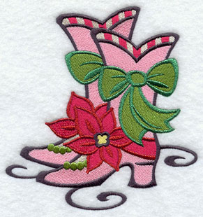 Christmas glam holiday boots machine embroidery design.
