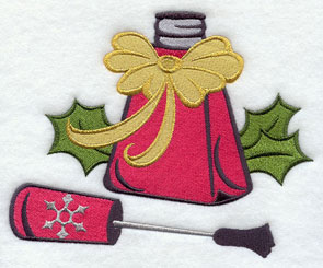 Holiday nail polish machine embroidery design.