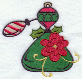 Holiday perfume spritzer machine embroidery design.