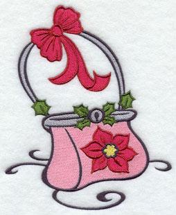 Christmas glam holiday hand bag machine embroidery design.