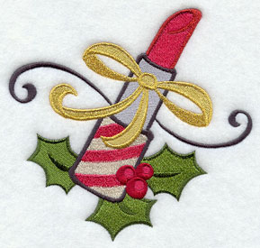 Lipstick and holly machine embroidery design.