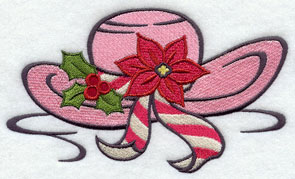 Christmas hat machine embroidery design.