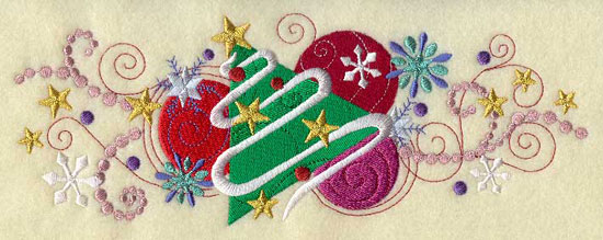 Metallic thread Christmas tree and ornament border machine embroidery design.
