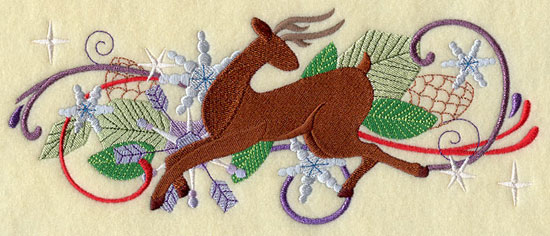 Metallic thread Christmas reindeer border machine embroidery design.