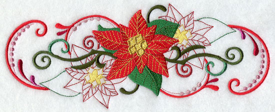 Metallic thread Christmas poinsettia border machine embroidery design.