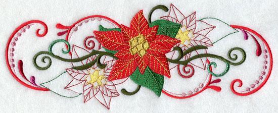 Metallic thread Christmas poinsettia border machine embroidery design.