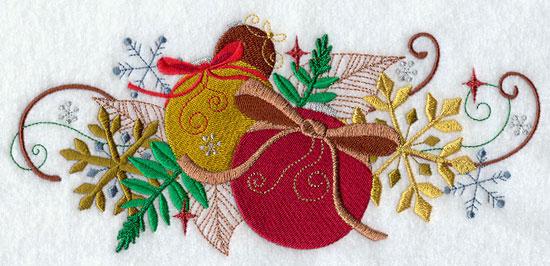 Metallic thread Christmas ornament border machine embroidery design.